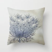 Vintage Wildflower Botanical Queen Anne's Lace in Blue Throw Pillow