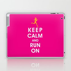 Keep Calm and Run On (female runner) Laptop & iPad Skin