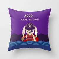 Pirate Bunny Needs Coffee Throw Pillow