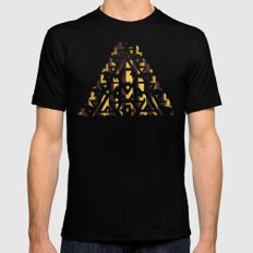 Aztec Pattern Papercut SMALL Mens Fitted Tee Black