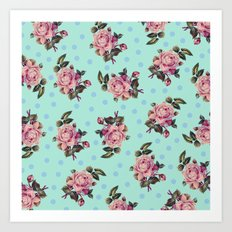Pink Roses on Blue Art Print