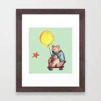Mr. Bear is a talented scooterist Framed Art Print