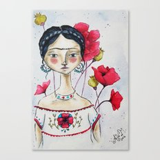 Frida with Poppies Canvas Print