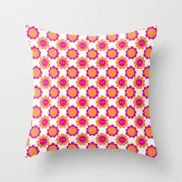 Button Flowers Throw Pillow