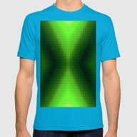 Green PixelS Mens Fitted Tee Teal SMALL