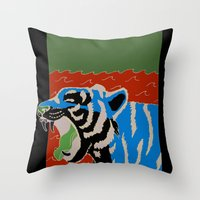 Tiger Yawn Throw Pillow
