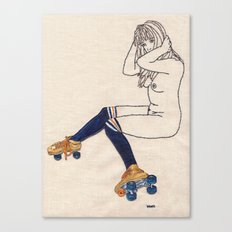 Striped Socks and Roller Skates Canvas Print