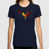 The Rooster Still Bites Womens Fitted Tee Navy SMALL