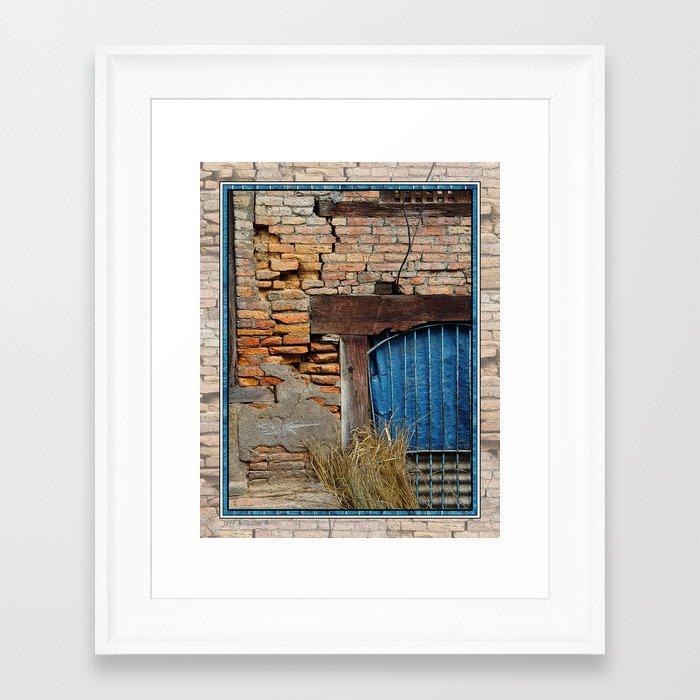 Old brick wall and blue tarp window bhaktapur nepal framed for 12 x 60 window