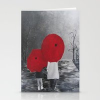 Black White Red mother and child with Umbrella print of painting rainy cloudy surrealism Stationery Cards