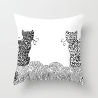 Black Cat White Cat Throw Pillow