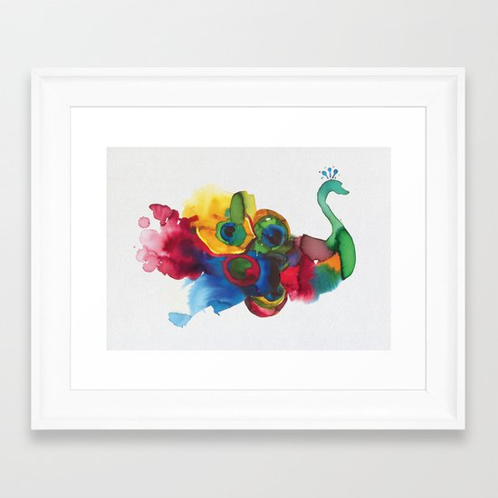 colorful peacocks Framed Art Print