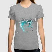 Audrey splash Cool Blue Womens Fitted Tee Tri-Grey SMALL