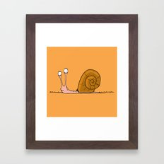 Funny snail with silly face expression Framed Art Print