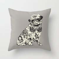 Pug Tattoo Throw Pillow