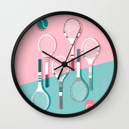Wall Clock - Got Served - tennis country club sports athlete retro throwback memphis 1980s style neon palm spring - Wacka
