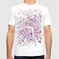 London Mosaic Map #5 Mens Fitted Tee White SMALL