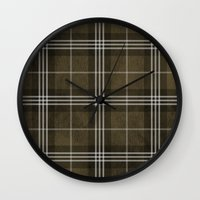 Grungy Brown Plaid Wall Clock