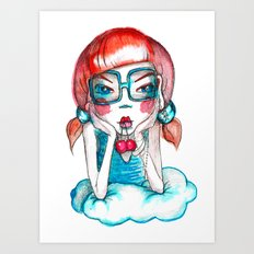 girl with cherry Art Print