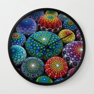 Wall Clock featuring Jewel Drop Mandala Stone… by Elspeth McLean