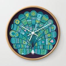 Peacock at noon Wall Clock