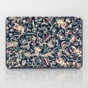 Navy Garden - floral doodle pattern in cream, dark red & blue iPad Case