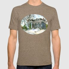 A Cozy Winter Cottage Mens Fitted Tee Tri-Coffee SMALL