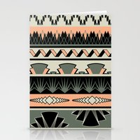 art deco stripes - salmon Stationery Cards