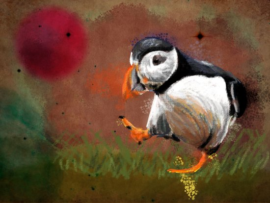 Particle Puffin Art Print