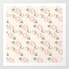 Pink Vintage Roses Pattern Art Print