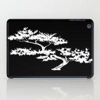 Bonzai Tree Reversed on Black Background iPad Case
