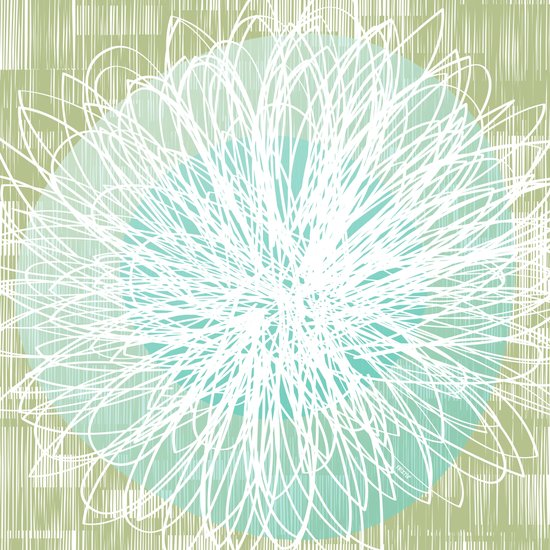 Doodle Flowers in Mint by Friztin Art Print