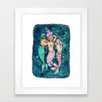 Dancing Mermaids Framed Art Print