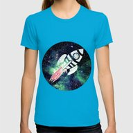 Spaceship Womens Fitted Tee Teal SMALL