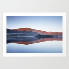 Mist and calm mountain reflections at sunrise. Grasmere, Lake District, UK Art Print