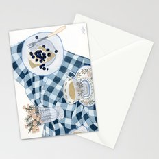 Still life with blueberry pie Stationery Cards