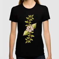 Floral dream Womens Fitted Tee Black SMALL
