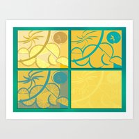 Lemon Sun and Moon Art Print