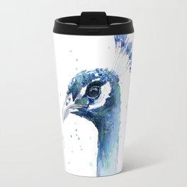 Travel Mug - Peacock Watercolor Painting - Olechka