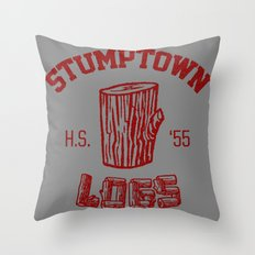 Stumptown logs Throw Pillow