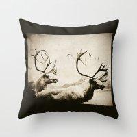 cariboutimestwo Throw Pillow