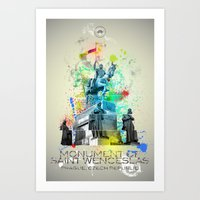 ABSTRACT - MONUMENT OF ST. WENCESLAS, PRAGUE Art Print