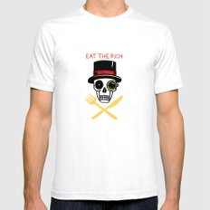 EAT THE RICH SMALL White Mens Fitted Tee