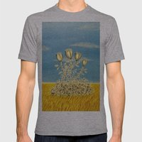 Silver Flowers on Golden Grass Mens Fitted Tee Athletic Grey SMALL