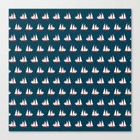 Sailing Ships On Navy Pa… Canvas Print