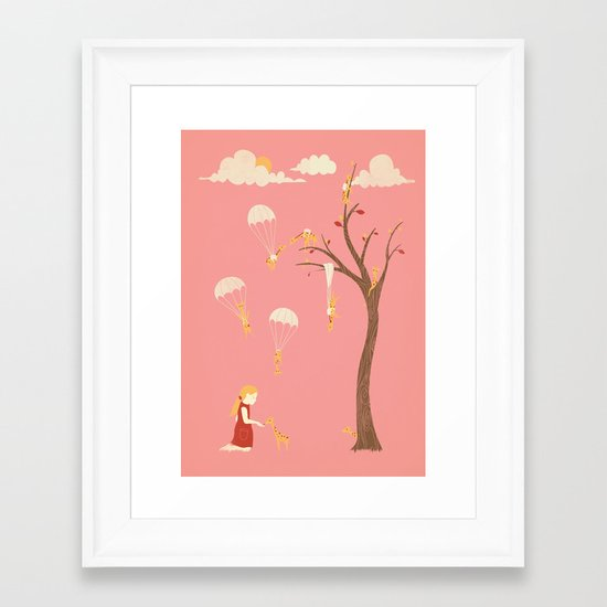 Invasion of the Tiny Giraffes   (alternate colors) Framed Art Print
