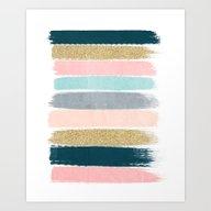 Art Print featuring Zara - Brushstroke Glitt… by CharlotteWinter