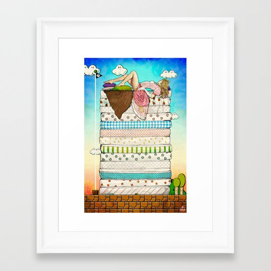 Princess Peach and the Pea Framed Art Print