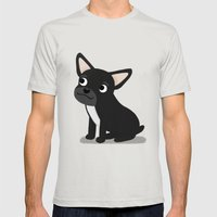 Black Frenchie - Cute Do… Mens Fitted Tee Silver SMALL