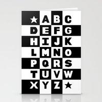 Alphabet Black and White Stationery Cards